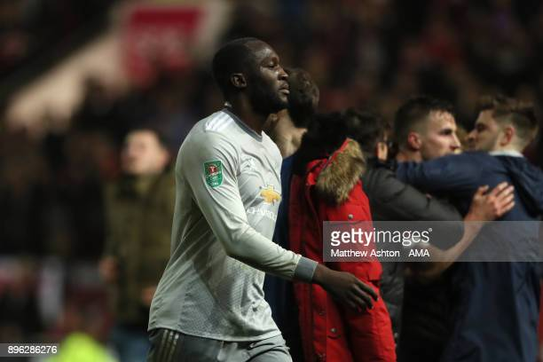Romelu Lukaku of Manchester United walks off at the end of the Carabao Cup QuarterFinal match between Bristol City and Manchester United at Ashton...