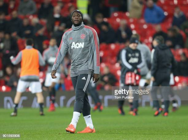 Romelu Lukaku of Manchester United warms up ahead of the Emirates FA Cup Third Round match between Manchester United and Derby County at Old Trafford...
