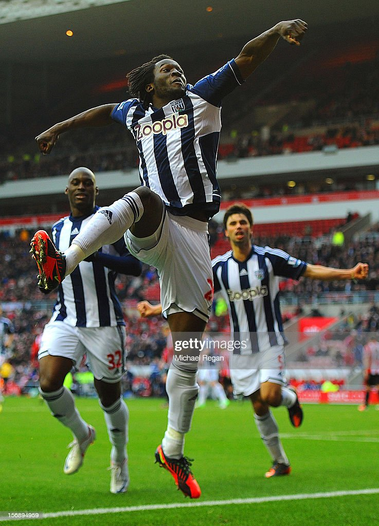 Romelu Lukaku of West Brom celebrates scoring to make it 3-1 during the Barclays Premier League match between Sunderland and West Bromwich Albion at the Stadium of Light on November 24, 2012 in Sunderland, England. (Photo by Michael Regan/Getty Images)Alternate crop of #156893283