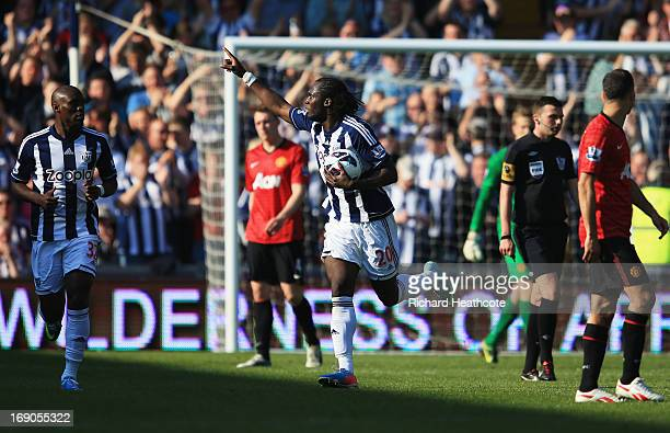 Romelu Lukaku of West Bromwich Albion celebrates as he scores their third goal during the Barclays Premier League match between West Bromwich Albion...