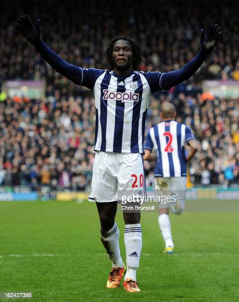 Romelu Lukaku of West Bromwich Albion celebrates scoring the opening goal during the Barclays Premier League match between West Bromwich Albion and...