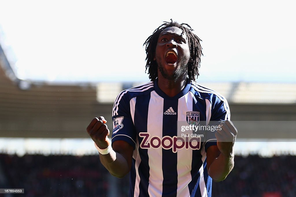 Romelu Lukaku of West Bromwich Albion celebrates scoring the second goal for West Bromwich Albion during the Barclays Premier League match between Southampton and West Bromwich Albion at St Mary's Stadium on April 27, 2013 in Southampton, England.