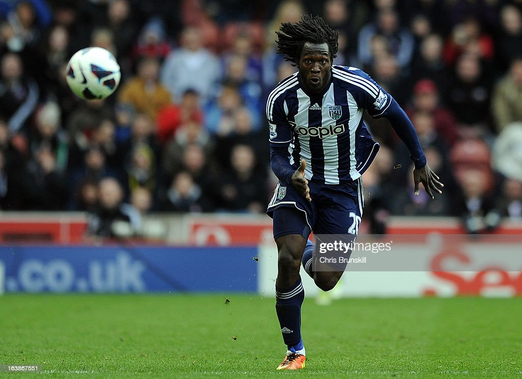Romelu Lukaku of West Bromwich Albion in action during the Barclays Premier League match between Stoke City and West Bromwich Albion at Britannia Stadium on March 16, 2013 in Stoke on Trent, England.