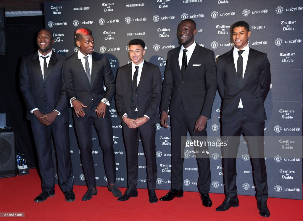 Romelu Lukaku, Paul Pogba, Jesse Lingard, Stormzy and Marcus Rashford attend the United for Unicef Gala Dinner at Old Trafford on November 15, 2017 in Manchester, England.