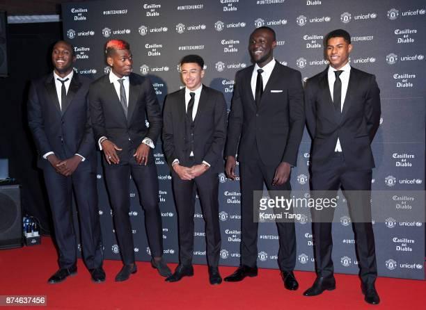 Romelu Lukaku Paul Pogba Jesse Lingard Stormzy and Marcus Rashford attend the United for Unicef Gala Dinner at Old Trafford on November 15 2017 in...