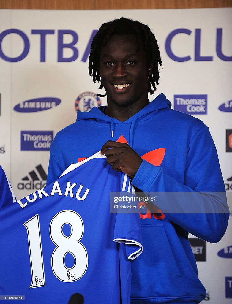 Romelu Lukaku poses for the camera during the Chelsea new signings of Oriol Romeu and Romelu Lukaku press conference on August 23, 2011 in Cobham, England.