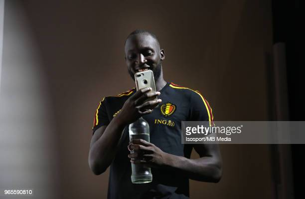 Romelu LUKAKU talks to the press after a training session of the Belgian national soccer team ' Red Devils ' at the Belgian National Football Center...