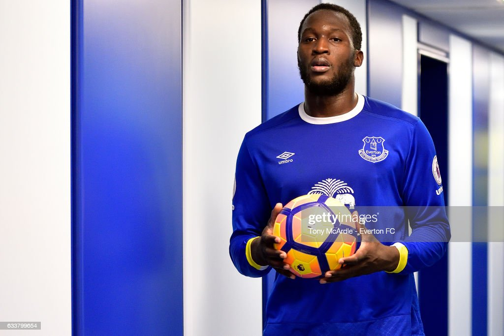 Romelu Lukaku with the match ball after scoring four goals during the Premier League match between Everton and AFC Bournemouth at Goodison Park on February 4, 2017 in Liverpool, England.