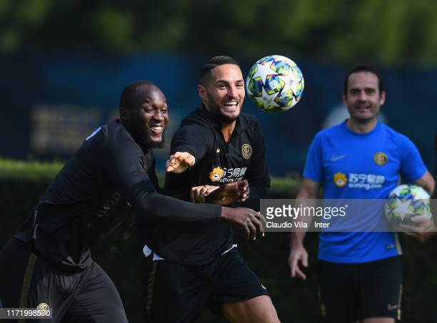 Romelu Menama Lukaku Bolingoli and Danilo D'Ambrosio of FC Internazionale in action during a FC Internazionale training session at Appiano Gentile on...