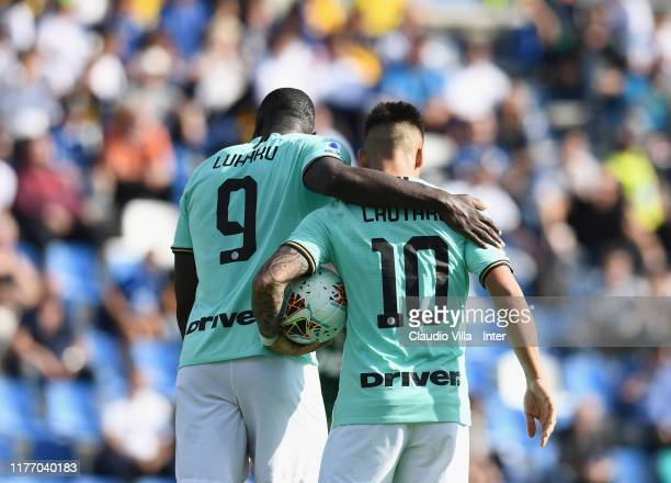 Romelu Menama Lukaku Bolingoli and Lautaro Martínez of FC Internazionale celebrate during the Serie A match between US Sassuolo and FC Internazionale...