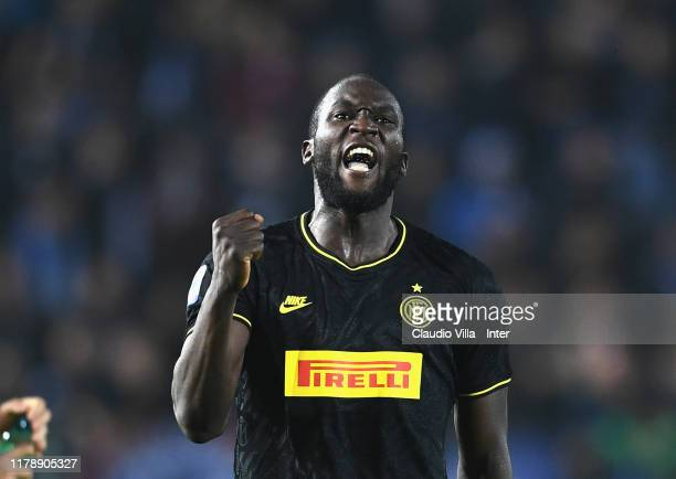 Romelu Menama Lukaku Bolingoli of FC Internazionale celebrates after scoring the secon goal during the Serie A match between Brescia Calcio and FC...