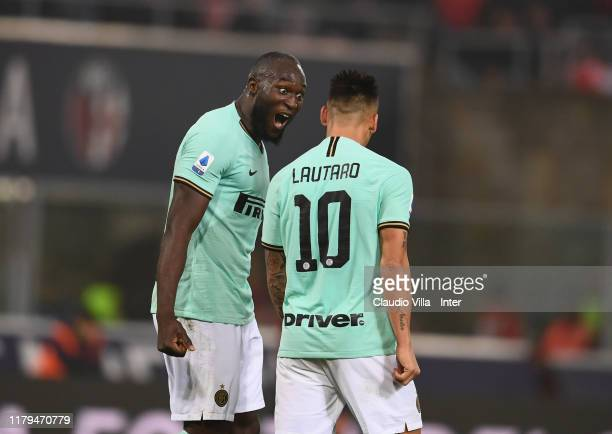 Romelu Menama Lukaku Bolingoli of FC Internazionale celebrates after scoring the second goal during the Serie A match between Bologna FC and FC...