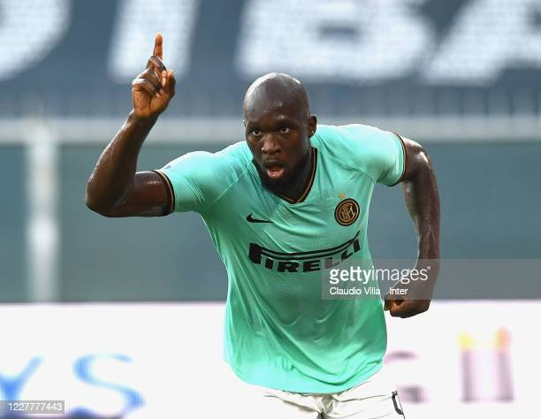 Romelu Menama Lukaku Bolingoli of FC Internazionale celebrates after scoring the opening goal during the Serie A match between Genoa CFC and FC...