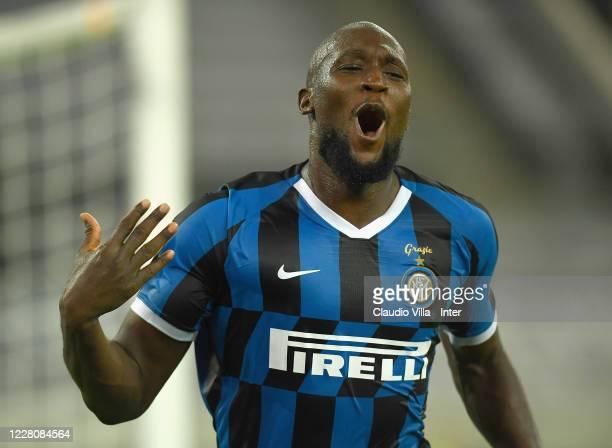 Romelu Menama Lukaku Bolingoli of FC Internazionale celebrates after scoring the fifth goal during the UEFA Europa League Semi Final between...