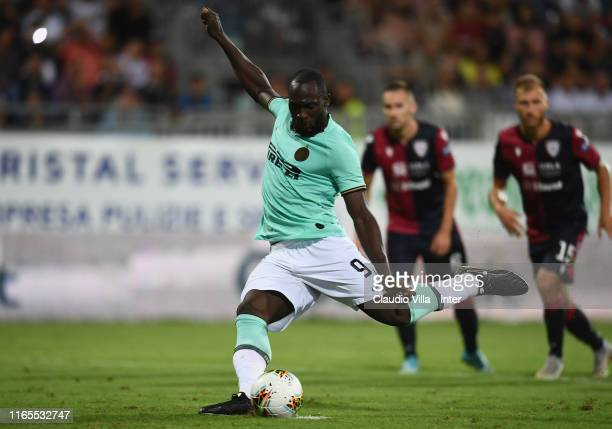 Romelu Menama Lukaku Bolingoli of FC scores the second goal during the Serie A match between Cagliari Calcio and FC Internazionale at Sardegna Arena...