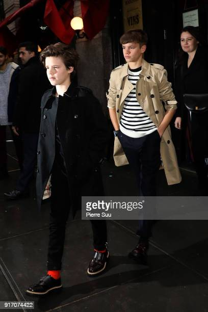 Romeo and Cruz Beckham comes out of 'Balthazar' restaurant where the Beckham family had lunch after Victoria Beckham's show on February 11 2018 in...