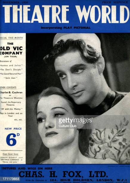 'Romeo and Juliet' by William Shakespeare with Robert Donat and Constance Cummings at the Old Vic London November 1939 Cover of 'Theatre World'...