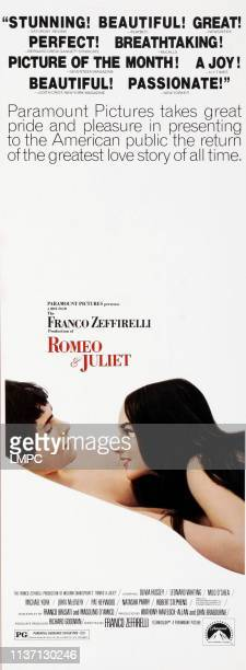 Romeo And Juliet poster Leonard Whiting Olivia Hussey on insert poster art 1968