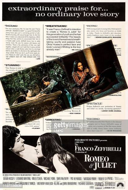 Romeo And Juliet poster US poster Leonard Whiting Olivia Hussey 1968