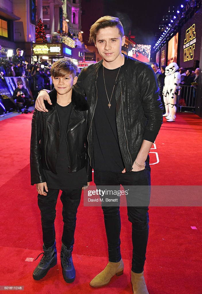 Romeo Beckham (L) and Brooklyn Beckham attend the European Premiere of 'Star Wars: The Force Awakens' in Leicester Square on December 16, 2015 in London, England.