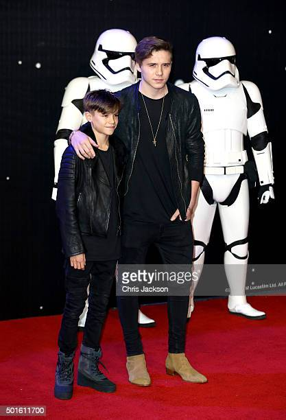 Romeo Beckham and Brooklyn Beckham attend the European Premiere of Star Wars The Force Awakens at Leicester Square on December 16 2015 in London...