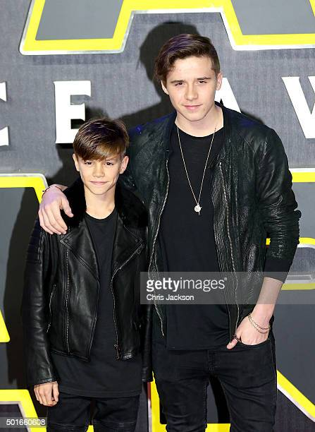 """Romeo Beckham and Brooklyn Beckham attend the European Premiere of """"Star Wars: The Force Awakens"""" at Leicester Square on December 16, 2015 in London,..."""