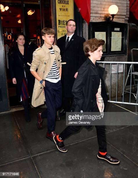 Romeo Beckham and Cruz Beckham leave Balthazar on February 11 2018 in New York City
