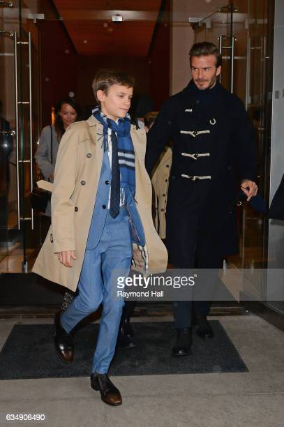 R Romeo Beckham and David Beckham are seen walking in Mitown on February 12 2017 in New York City
