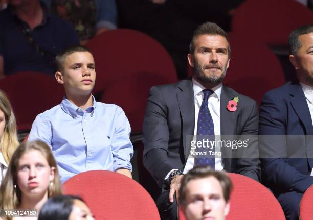 Romeo Beckham and David Beckham attend the Invictus Games Closing Ceremony at Qudos Bank Arena on October 27, 2018 in Sydney, Australia. The Duke and...