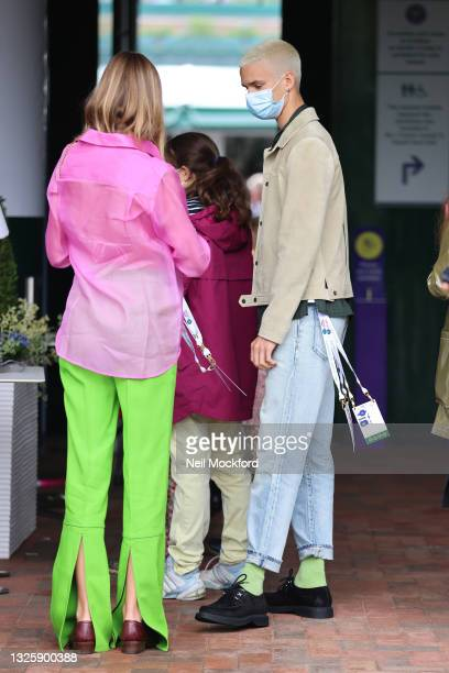 Romeo Beckham and Mia Regan seen outside Wimbledon Tennis Championships 2021 at The All Englands Lawn Tennis Club on June 28, 2021 in London, England.
