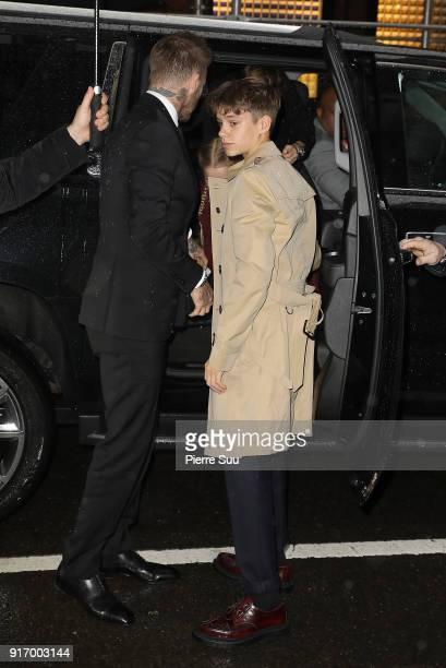 Romeo Beckham arrives at Balthazar restaurant on February 11 2018 in New York City