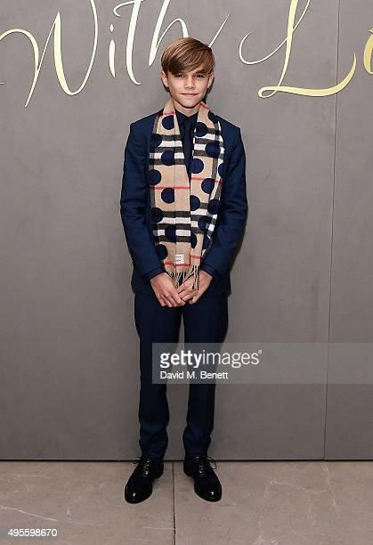 Romeo Beckham arrives at the Burberry Festive film premiere at 121 Regent Street on November 3 2015 in London England