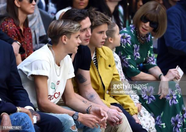 Romeo Beckham, Brooklyn Beckham, Cruz Beckham, Harper Seven Beckham and Anna Wintour attends the Victoria Beckham show during London Fashion Week...