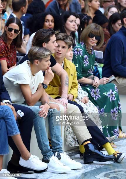 Romeo Beckham, Brooklyn Beckham, Cruz Beckham, Harper Seven Beckham and Anna Wintour attend the Victoria Beckham show during London Fashion Week...