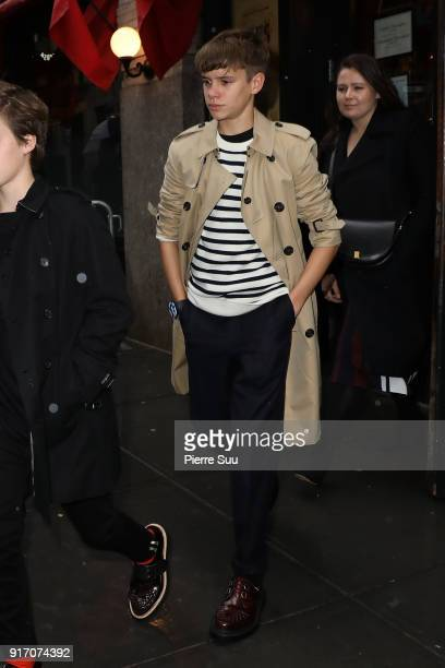 Romeo Beckham comes out of 'Balthazar' restaurant where the Beckham family had lunch after Victoria Beckham's show on February 11 2018 in New York...