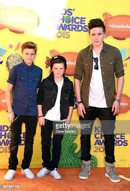 Romeo Beckham Cruz Beckham and Brooklyn Beckham attend Nickelodeon's 28th Annual Kids' Choice Awards held at The Forum on March 28 2015 in Inglewood...