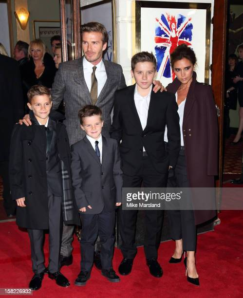 Romeo Beckham David Beckham Cruz Beckham Brooklyn Beckham and Victoria Beckham attend the press night of 'Viva Forever' a musical based on the music...