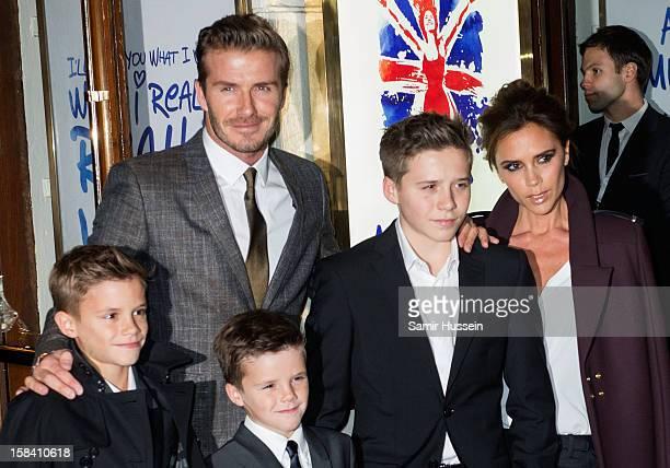 Romeo Beckham David Beckham Cruz Beckham Brooklyn Beckham and Victoria Beckham attend the press night of 'Viva Forever' a musical based on the music...