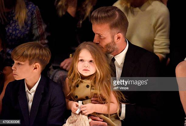 Romeo Beckham Harper Beckham and David Beckham attend the Burberry 'London in Los Angeles' event at Griffith Observatory on April 16 2015 in Los...