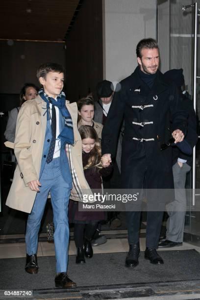 Romeo Beckham Harper Beckham Cruz Beckham Brooklyn Beckham and David Beckham are seen on February 12 2017 in New York City