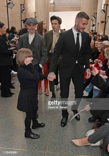 Romeo Beckham Harper Beckham Hana Cross Brooklyn Beckham and David Beckham attend the Victoria Beckham show during London Fashion Week February 2019...