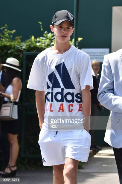 Romeo Beckham seen on day nine at The Championships at Wimbledon London on July 11 2018 in London England