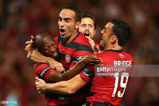 Romeo Castelen of the Wanderers celebrates with team mates after scoring a goal during the ALeague Semi Final match between the Western Sydney...