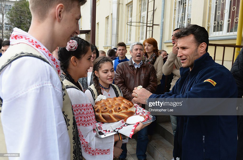 Romeo Gontineac arrives at Colegiul Tehnic Dinicu Golescu school during the Rugby World Cup Trophy Tour in partnership with Land Rover and DHL ahead of Rugby World Cup 2015 on March 17, 2015 in Bucharest, Romania.