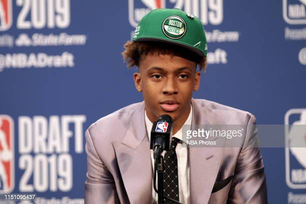 Romeo Langford is interviewed after being drafted by the Boston Celtics during the 2019 NBA Draft on June 20 2019 at the Barclays Center in Brooklyn...