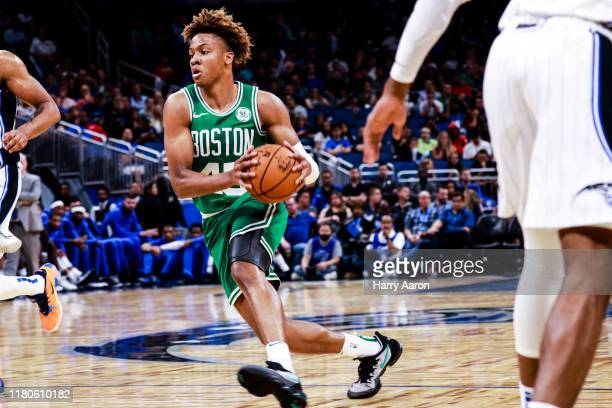 Romeo Langford of the Boston Celtics charges into the key against the Orlando Magic in the 4th quarter at Amway Center on October 11 2019 in Orlando...