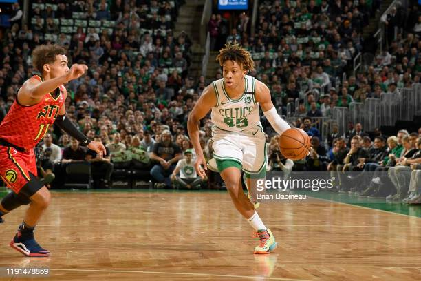 Romeo Langford of the Boston Celtics handles the ball against the Atlanta Hawks on January 3 2020 at the TD Garden in Boston Massachusetts NOTE TO...