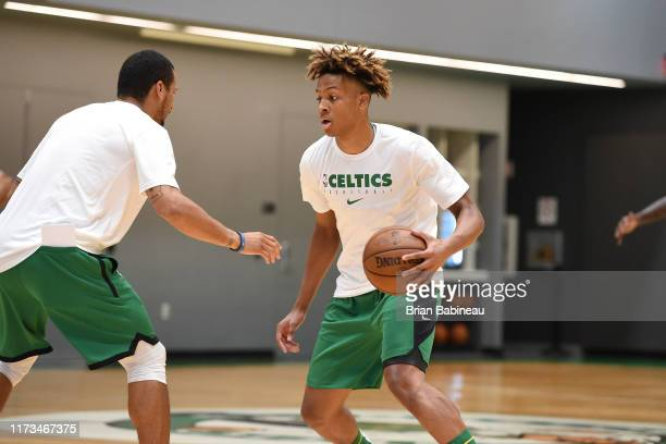 Romeo Langford of the Boston Celtics handles the ball during practice on October 3 2019 at the Auerbach Center in Brighton Massachusetts NOTE TO USER...