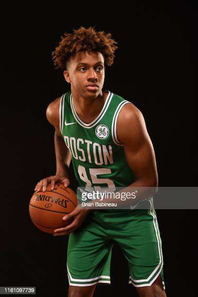 Romeo Langford of the Boston Celtics poses for a portrait during the 2019 NBA Rookie Photo Shoot on August 11 2019 at the Fairleigh Dickinson...