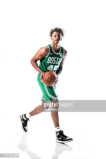 Romeo Langford of the Boston Celtics poses for a portrait during the 2019 NBA Rookie Photo Shoot on August 11 2019 at Fairleigh Dickinson University...